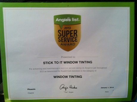 Angie's List Award Outstanding Window Tinting, Phoenix AZ